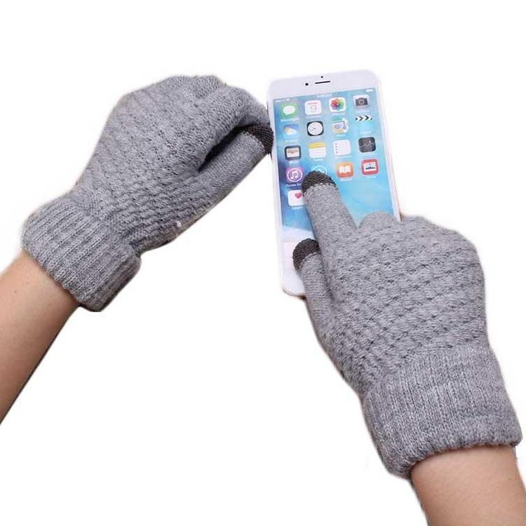 Stretch Fit Wool Knit Touchscreen Gloves