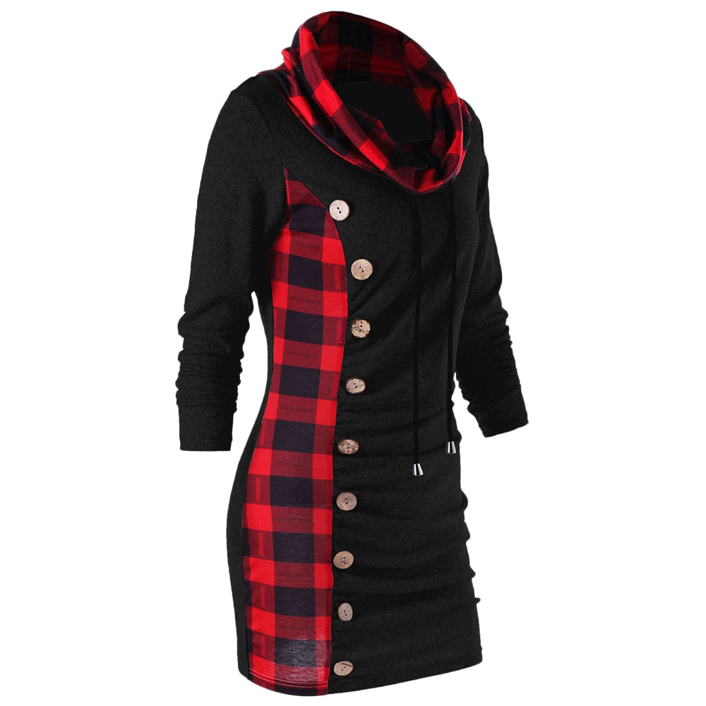 Women's Plaid Drawstring Cowl Neck Long Sleeve Sweater Dress