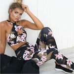 Women's Floral Quick Dry Fitness Leggings and Bra Top