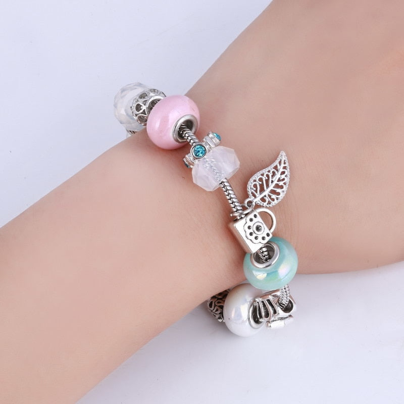 Crystal Beaded Bracelet with Charms