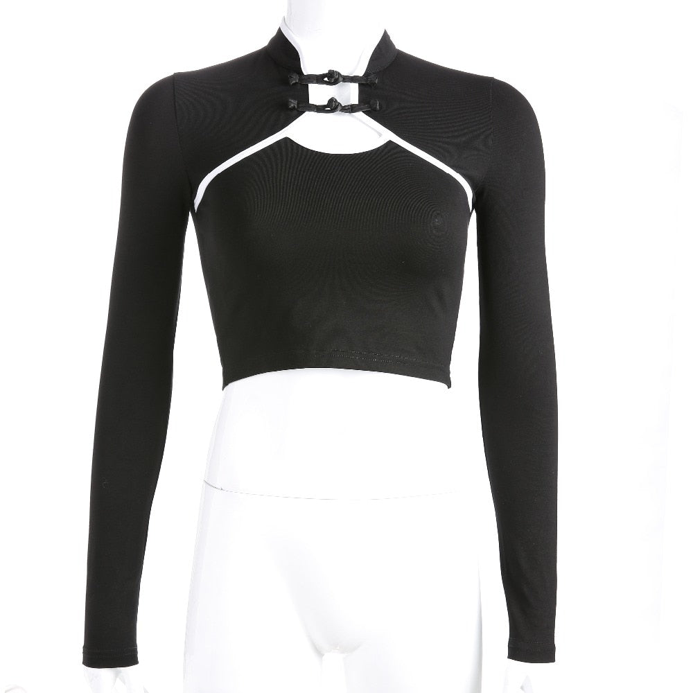 Women's New Fashion Two-Button Long Sleeve Contrast Top