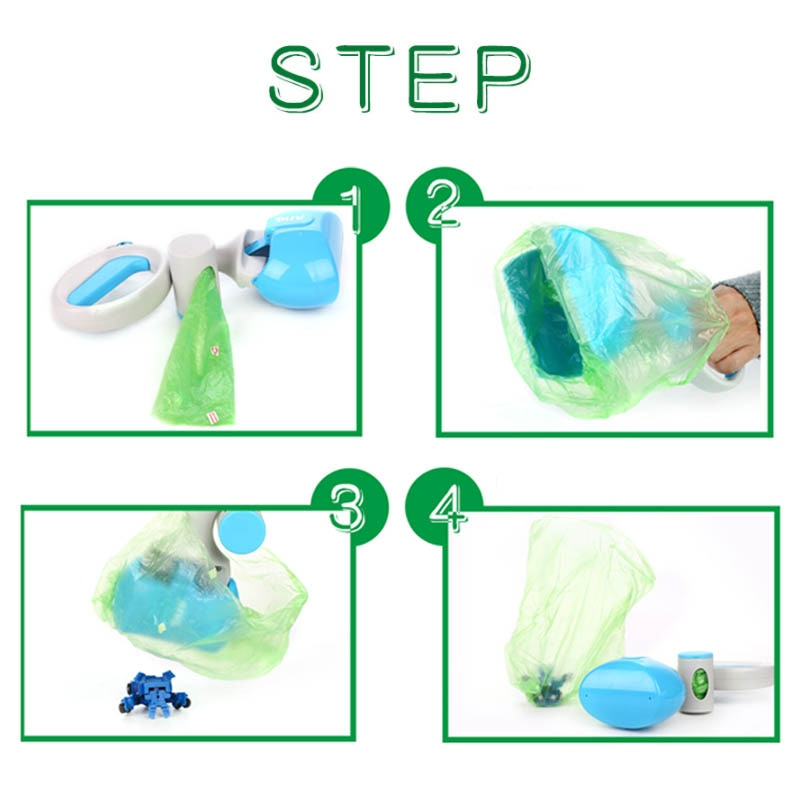 Steps for use of Portable Poop Pickup Scooper