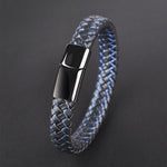 Men's Braided Leather Magnetic Clasp Bracelet
