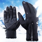 Thermal Windproof Touch Screen Zip-Up Gloves