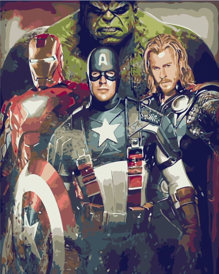 Frameless picture on wall acrylic paint DYI Avengers
