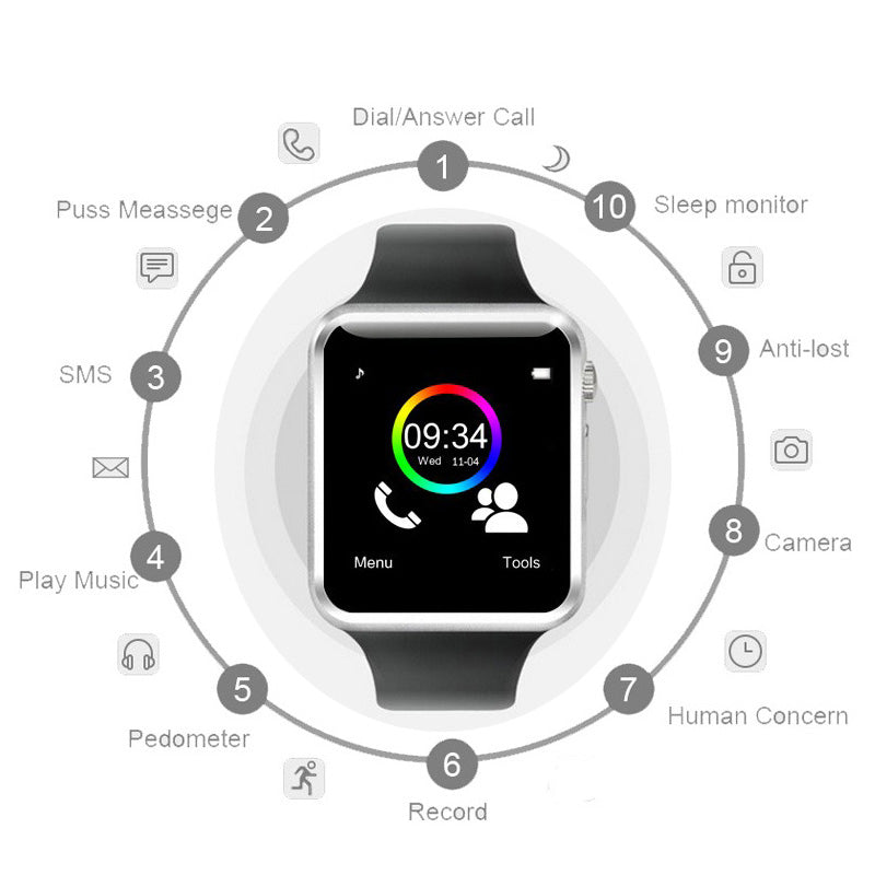 Bluetooth Sport Fitness Tracker Smart Watch with Camera
