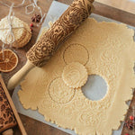 Wooden Dough Batter Embossing Kitchen Rolling Pin