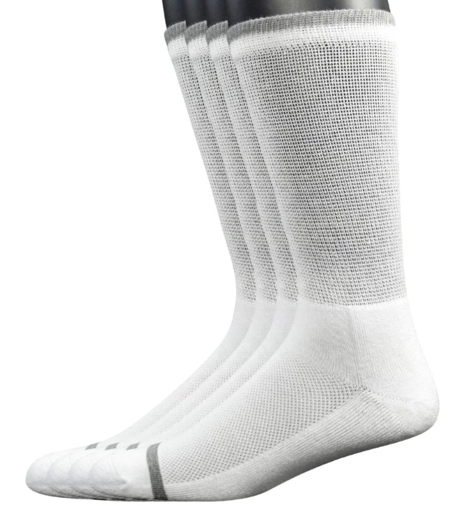 4 Pairs Bamboo Diabetic Crew Socks with Seamless Toe and Cushion Sole