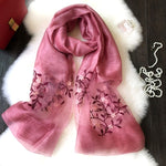 Women's Thin Silky Pashmina Floral Scarf
