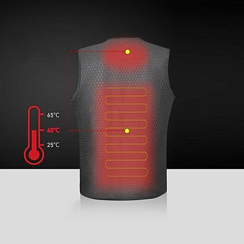 Black Electric Wireless Heated Winter Vest