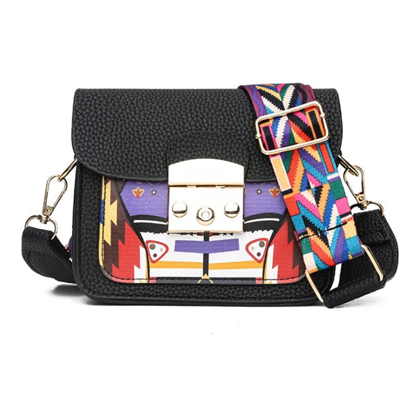 Women's Paneled Hard Leather Colorful Wide Strap Crossbody Bag