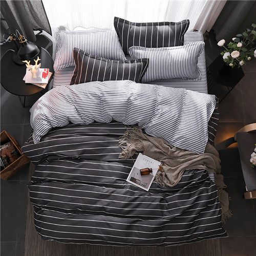 4 Piece: Flat Modern Linen Sheet & Duvet Covers Set