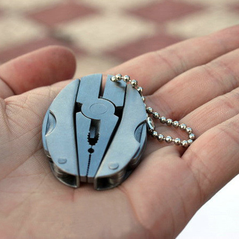 Stainless Steel Foldaway Multi-Function Camping Survival Keychain