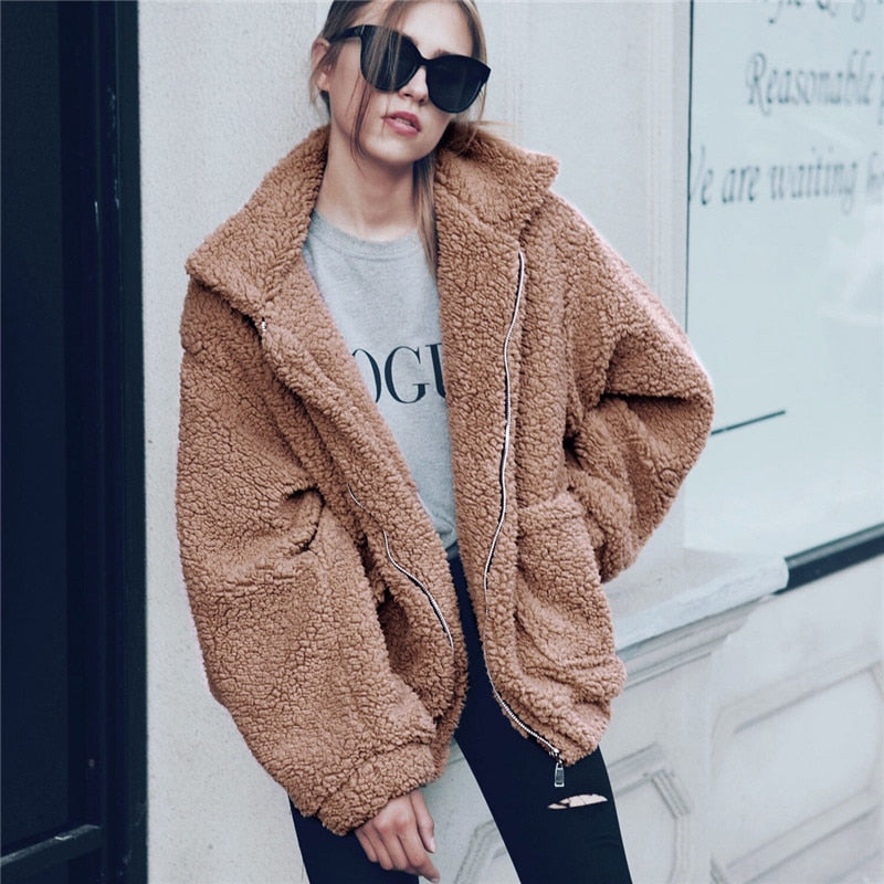 Women's Elegant Faux Fur Thick Fleece Jacket