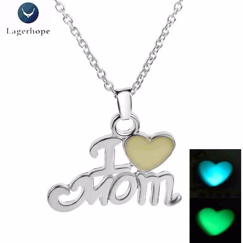 Women's Luminous I LOVE MOM Pendant Necklace