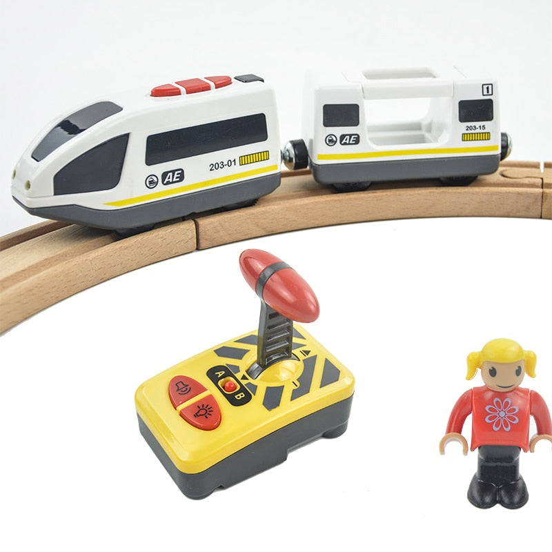 Electric RC Magnetic Train with Carriage for Wooden Tracks