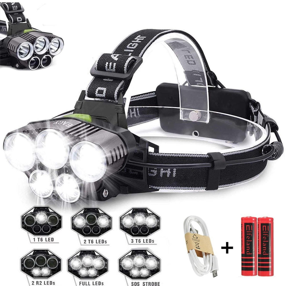 USB Rechargeable Waterproof 50,000 lumens LED Torch Headlamp