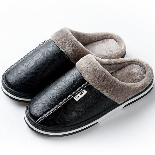 Thick Waterproof Leather Plush Lined Indoor House Slippers