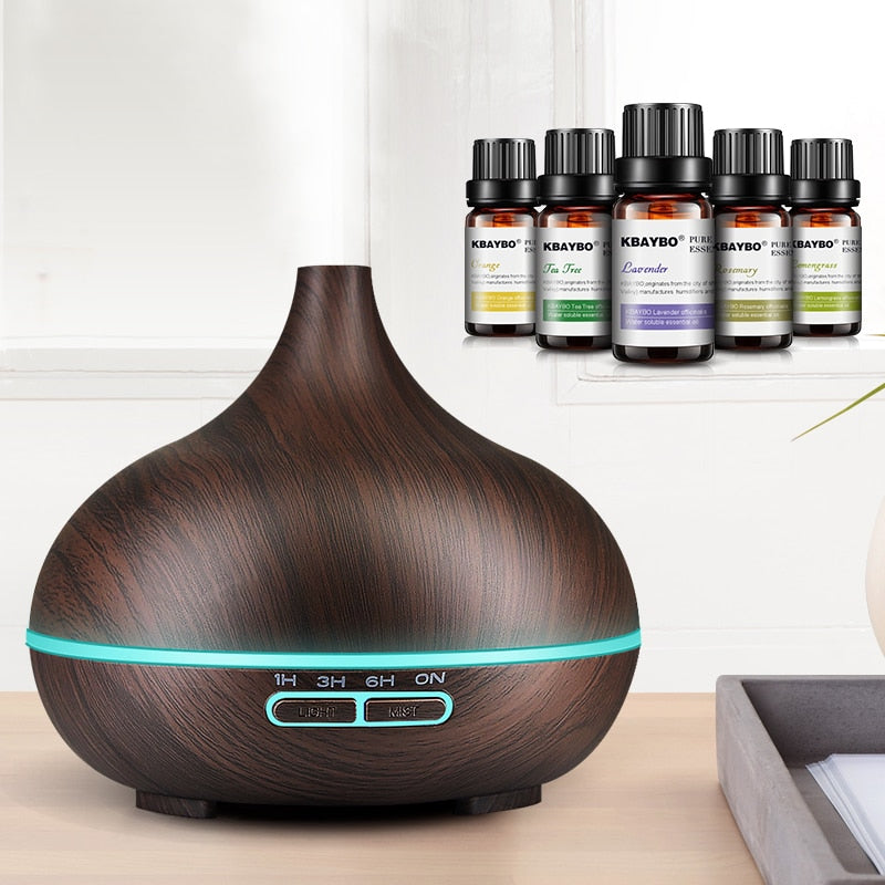 Ultrasonic Wood Grain Color Changing LED 300mL Oil Air Humidifier