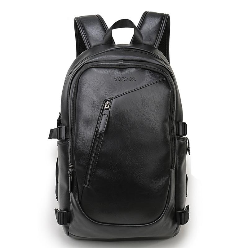 Men's Waterproof 15.6 inch Leather Laptop Backpack
