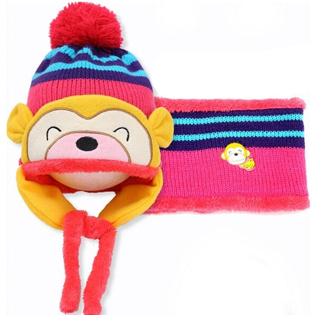 Toddler's Cartoon Monkey Ear Flap Winter Beanie & Scarf