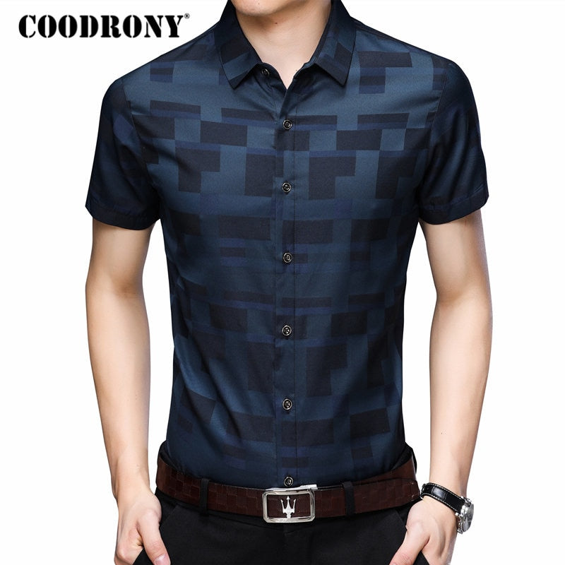 Men's Short Sleeve Casual Slim Fit Plaid Shirt