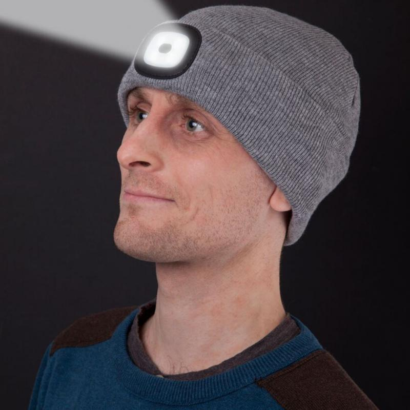 4LED Headlight Beanie Knitted Cap Hat - 3 Levels of Light