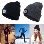 Rechargeable Waterproof LED Light Beanie Winter Headlamp Hat - 3 Modes