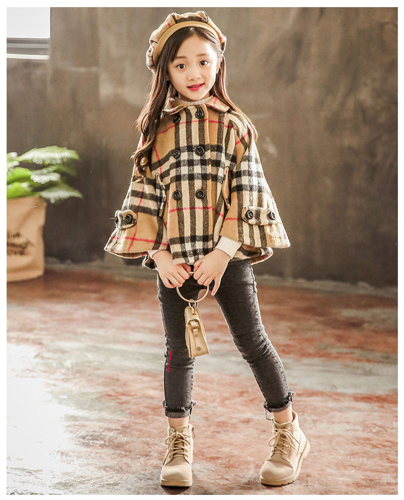 Girl's England Plaid Coat & Hat