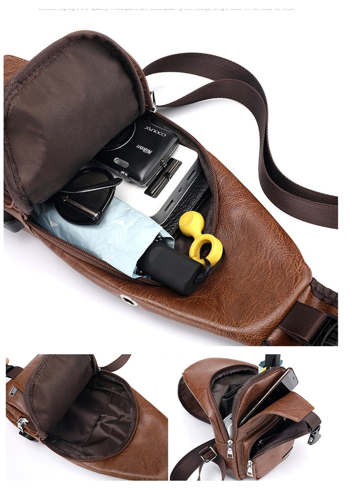 Men's Crossbody USB Charging Messenger Travel Bag