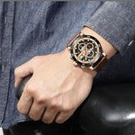 Men's Luxurious Leather Band Quartz Business Wrist Watch