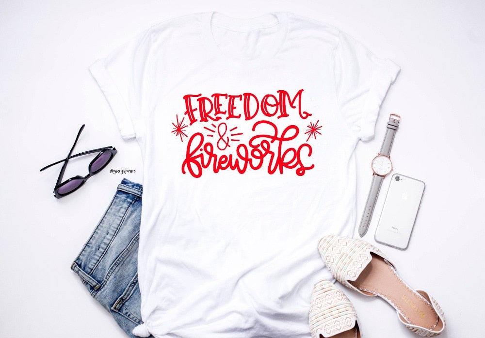 Women's Freedom & Fireworks 4th of July T-Shirt