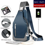 Men's Business Oxford USB Charging Crossbody Messenger Bag
