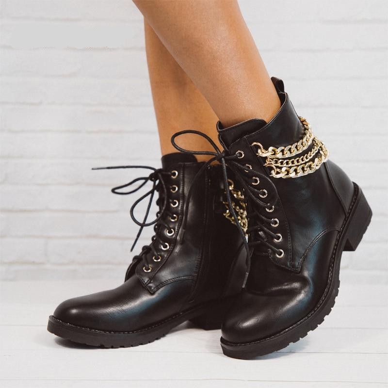 Women's Vintage PU Leather Gold Chain Loop Fashion Boots