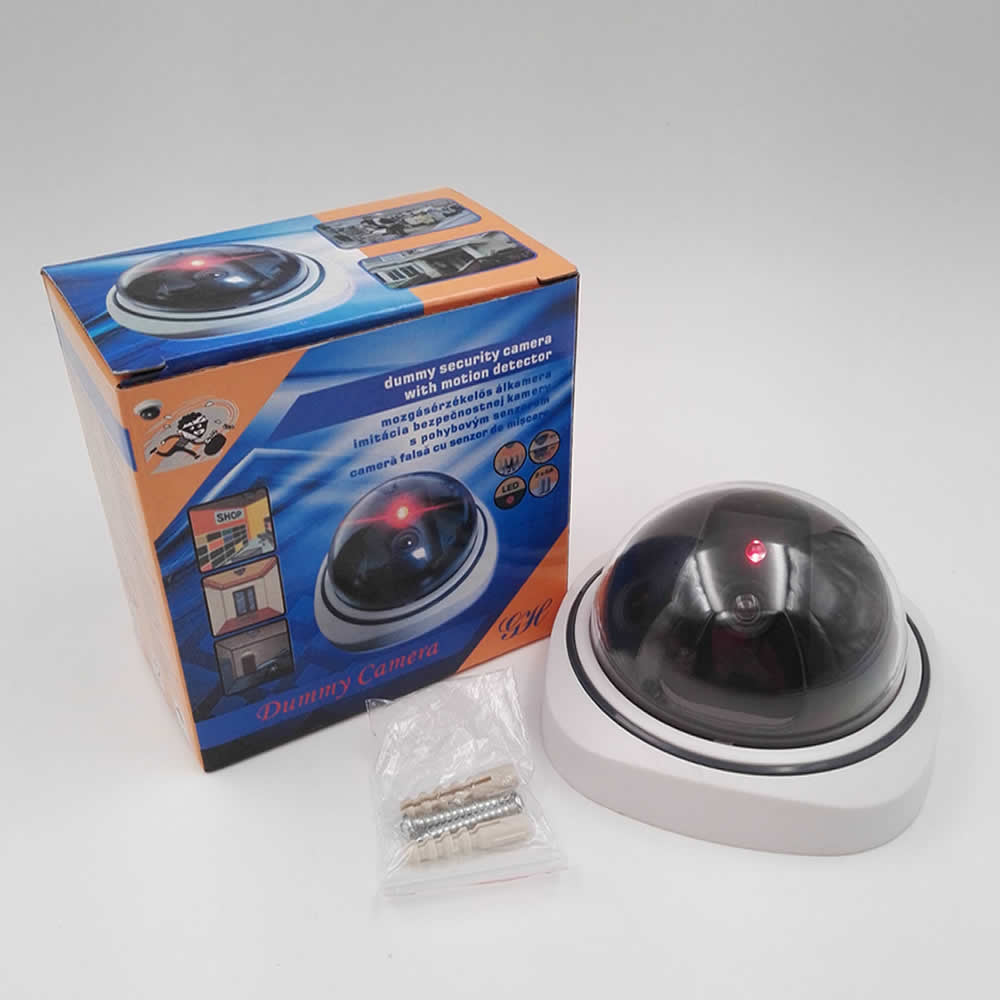 Smart Indoor/Outdoor Dummy Surveillance Camera Fake Security Camera with Flashing Red LED Lights