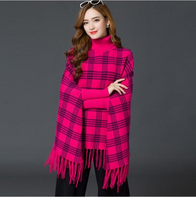Women's Plaid Long Neck Soft Comfort Winter Shawl