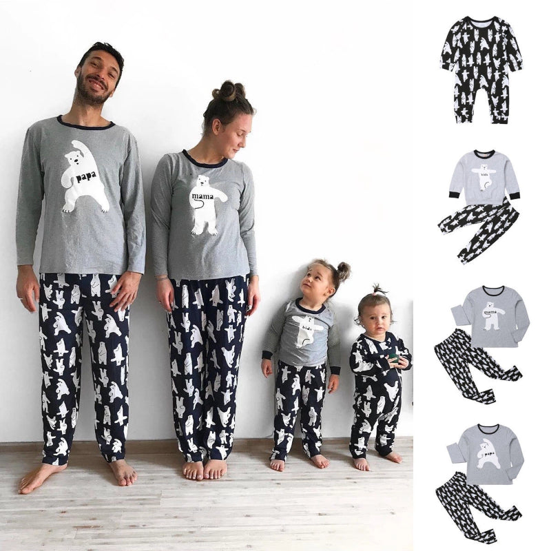 Men's Matching Bear Print Pajamas