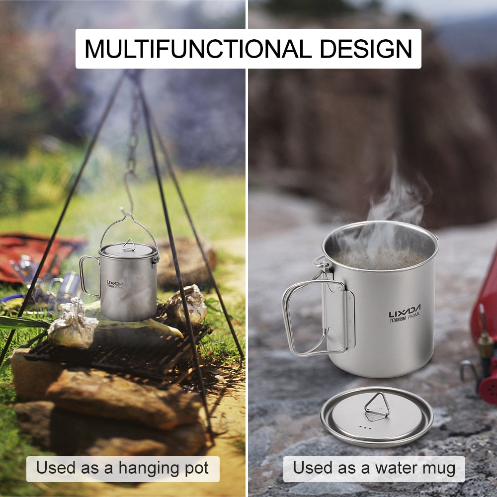 3 Piece: Titanium Camping Pot, Mug, Utensil and Carry Case