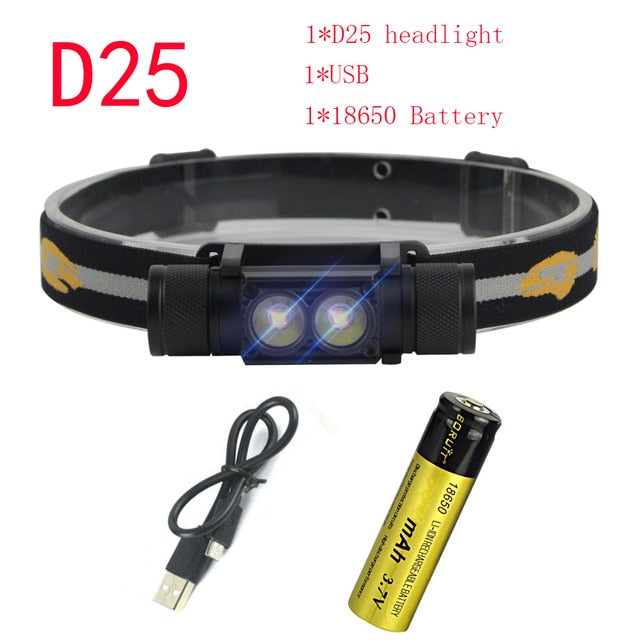 LED Headlight Battery Headlamp Camping Hunting Flashlight