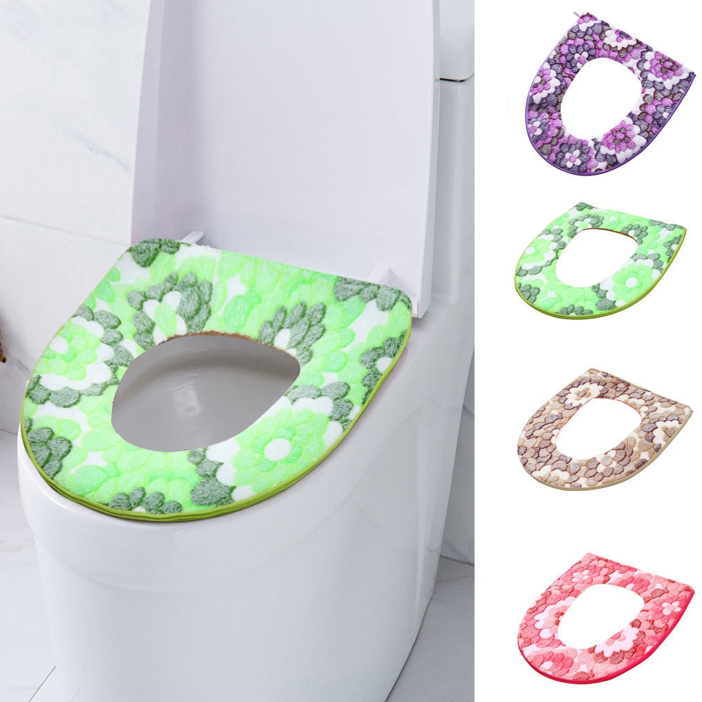 Warm Soft Toilet Seat Lid Cover with Zipper