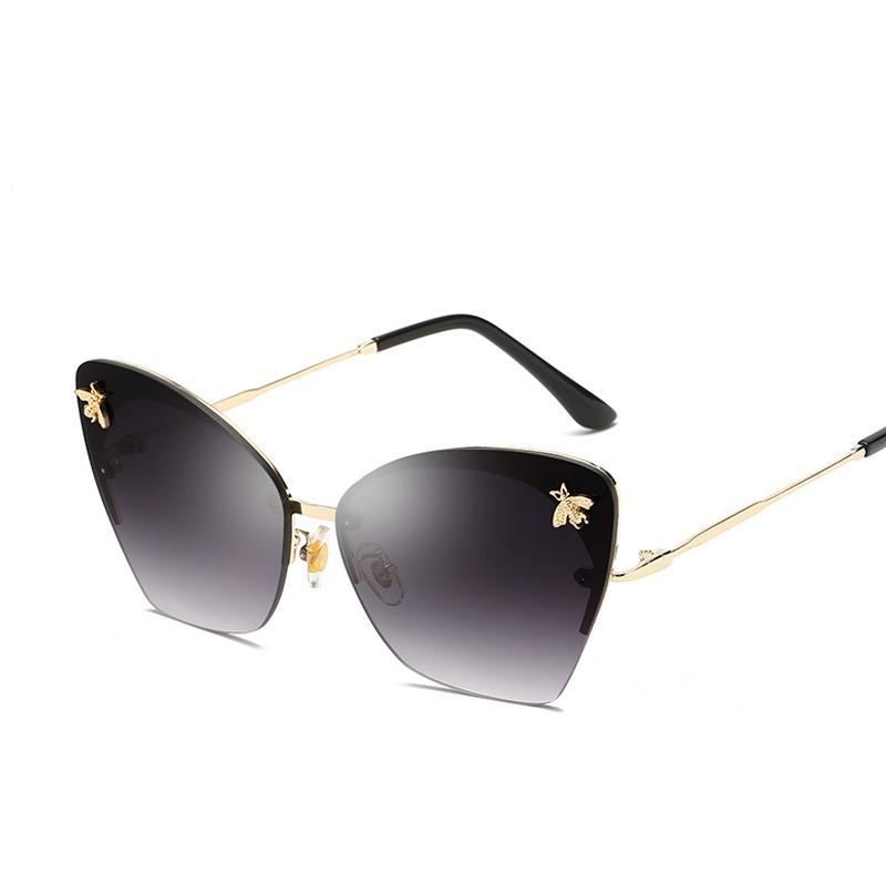 Women's Rimless Bee Decorated Sunglasses