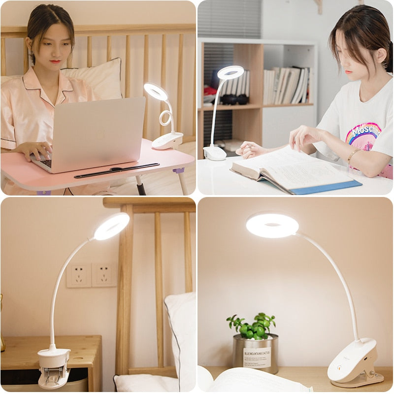 3 Mode Wireless LED Touch Rechargeable Clip Desk Lamp with USB