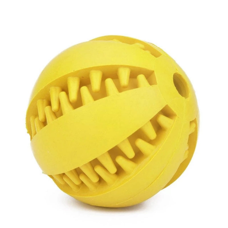Yellow Pet Extra-Tough Rubber Ball Chew Toy