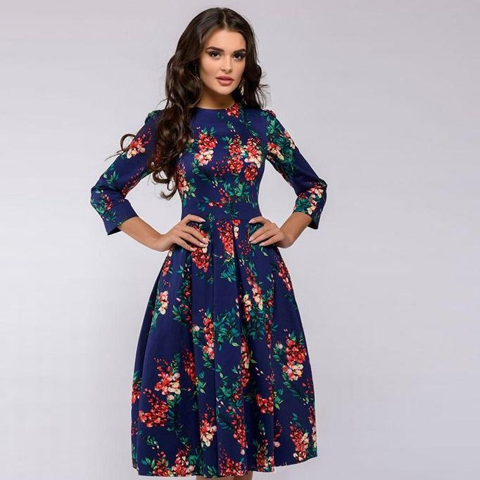 Women's Elegant A-Line Vintage Quarter Sleeve Sun Dress