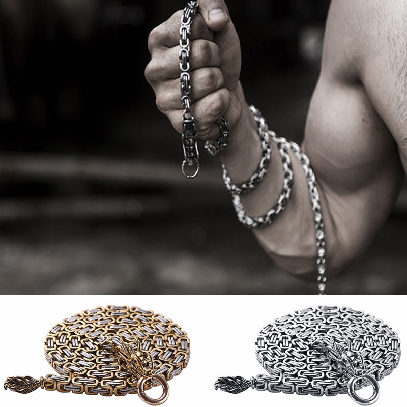 Stainless Steel Tactical Dragon Head Self Defense Chain