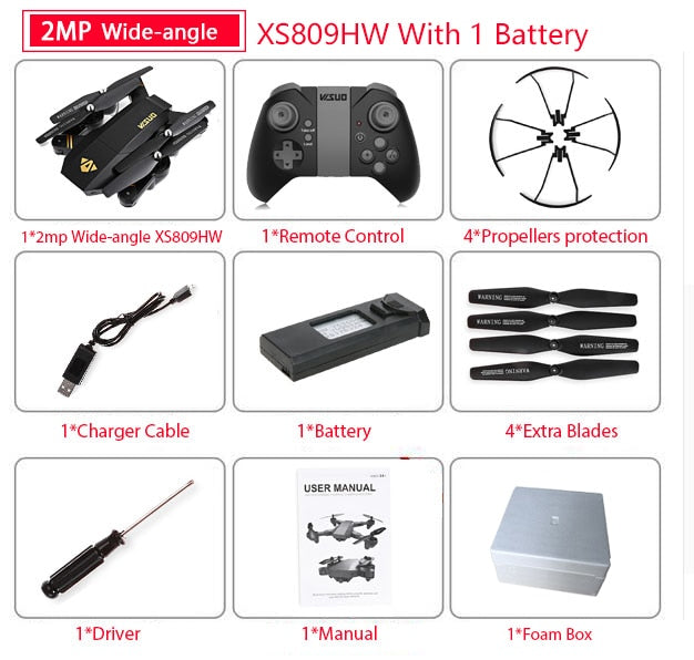 Mini Foldable RC Quadcopter Drone with .3MP/2MP Camera