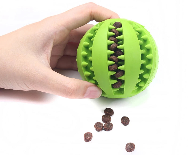 Green Pet Extra-Tough Rubber Ball Chew Toy with Food Inside