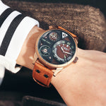 Men's Luxurious Waterproof Stereoscopic Two Time Zone Display Sport Watch