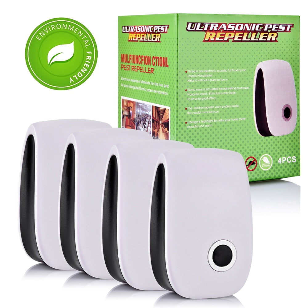 4 Pack: Ultrasonic Pest and Insect Repellent Wall-Plug