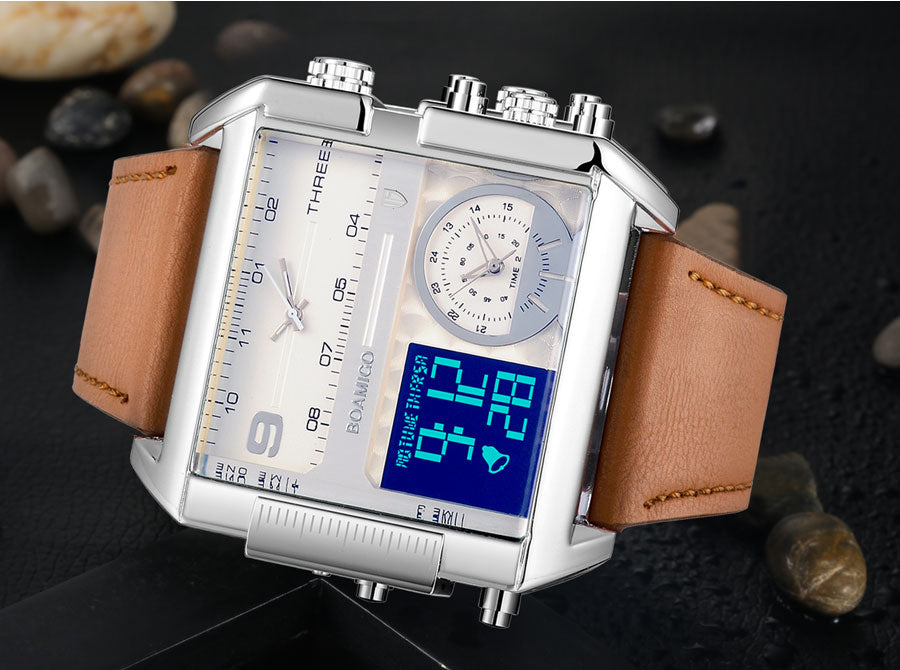 Men's 3 Time Zone Leather Quartz Business Watch